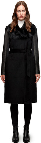 MORAY BELTED WOOL COAT WITH LEATHER SLEEVES