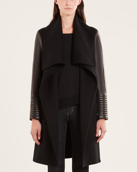 TAPLIN WOOL JACKET WITH LEATHER SLEEVES