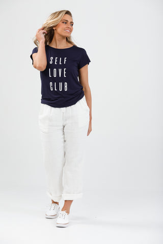 Brave + True SS Logo Tee Self Love Navy and White