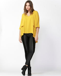 Fate + Becker Breezy High Low Hem Top Yellow - Total Woman Total Home