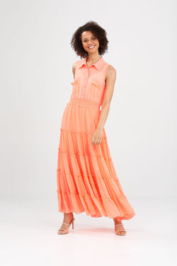 Brave + True Lido Sleeveless Dress Coral Chiffon