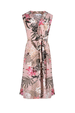 Jump Sleeveless Tropical Side Tie Dress - Total Woman Total Home