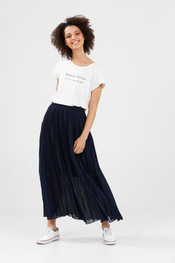Brave + True Alias Pleated Skirt Navy Chiffon