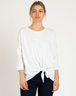 Betty Basics Ivy Knot Top White