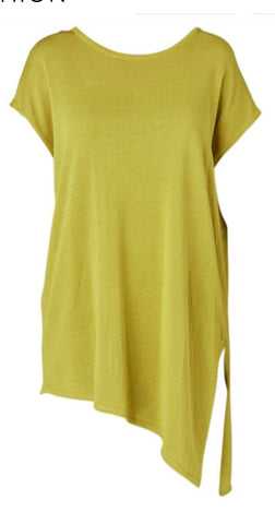 Ping Pong Chartreuse Knit Assymetrical top 455019 - Total Woman Total Home