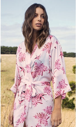 Gingerlilly Federica Pink Bird Silk Satin Robe