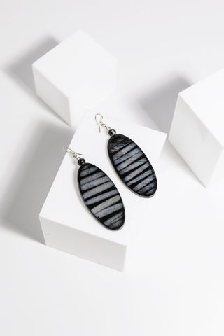 Holiday Silas Earrings Black Stripe - Total Woman Total Home