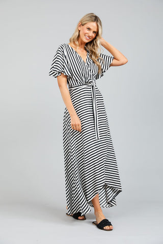 Holiday Tropics Wrap Dress Byron Stripe