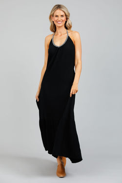 Holiday Athena Halter Neck Dress Black
