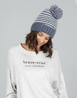 Brave + True Anchorage Beanie Denim Blue Off White - Total Woman Total Home