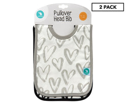 All4Ella Pullover Head Bib 2 Pack Black Hearts