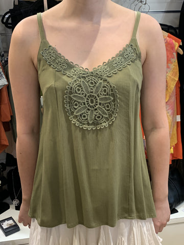 Talisman Fortune Singlet Top Olive - Total Woman Total Home