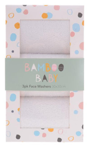 Bamboo Baby Facewahers Set of 3 - Total Woman Total Home