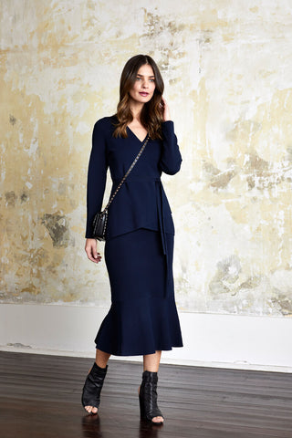 Ping Pong Milano Fish Tail Skirt Navy - Total Woman Total Home