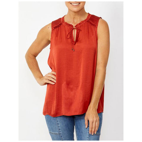 Ping Pong Sleeveless Tie Front Top Red Earth