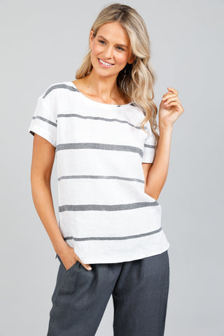 Holiday Captain Tee Charcoal Stripe