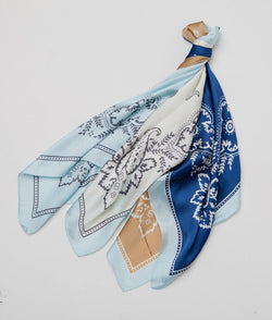 Gingerlilly Small Head Scarf Blue Paisley - Total Woman Total Home