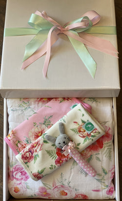 Baby Muslin Blanket Gift Box Floral
