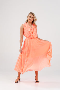 Brave + True Alias Pleated Skirt Coral Chiffon
