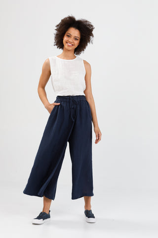 Brave + True Sunrise Crossover Linen Pants Navy