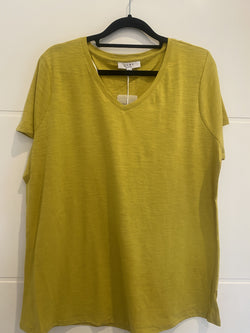 Jump V Neck Core Tee Chartreuse