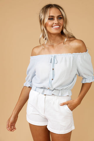 Daisy Says Copacabana Peasant Top Blue