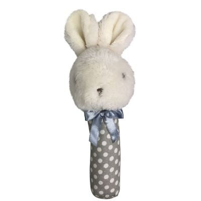 Baby Fluffy Bunny Rattle Grey - Total Woman Total Home