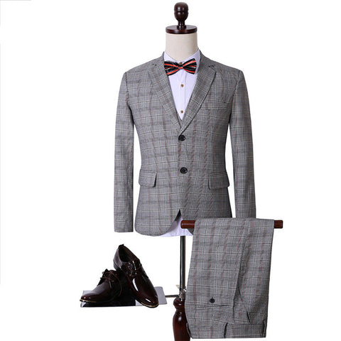 Men's Two-Button Checkered Suit