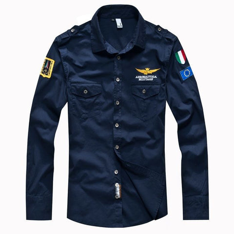 Aeronautics Patched Men's Casual Shirt