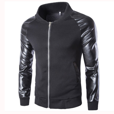 Iconic Leather Style Sleeves Men's Jacket