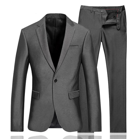 Men's Single-Button Gray Suit