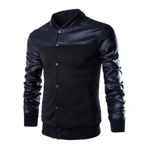 Iconic Leather Style Sleeve Men's Jacket