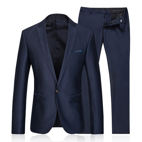 Men's Single-Button Navy Blue Suit