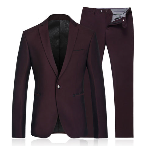 Men's Single-Button Purple Suit