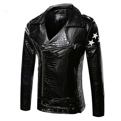Exclusive Faux Snake Skin Men's Leather Jacket