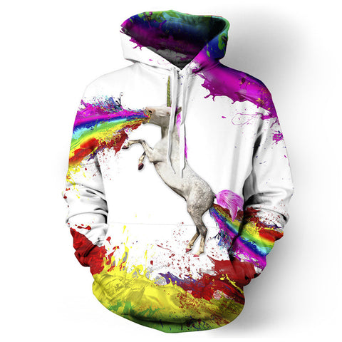 White Unicorn Print Men's Hoodie Jacket