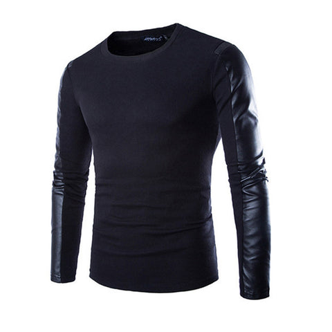 Exclusive Faux Leather Sleeve Men's T-Shirt