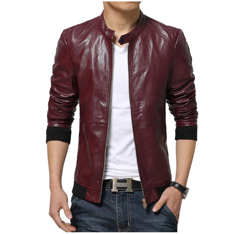Men's Sleek Motorcycle Leather Jacket