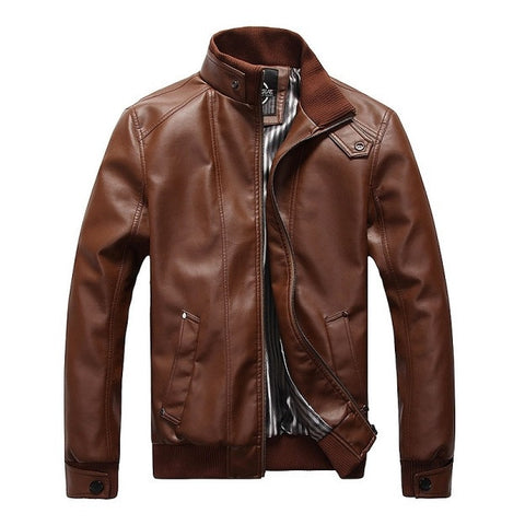 Classic Men's Motorcycle Leather Jacket