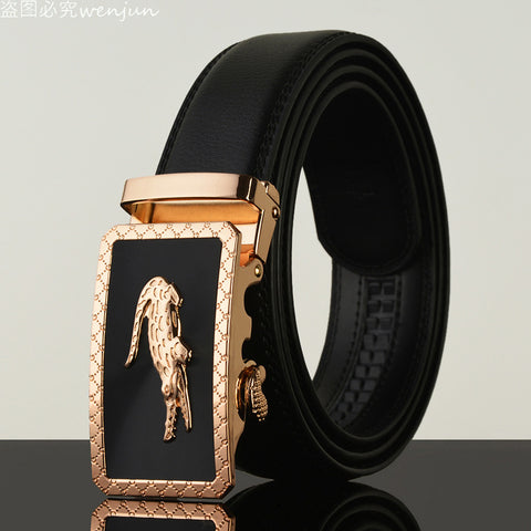 Men's Crocodile Buckle Leather Belt