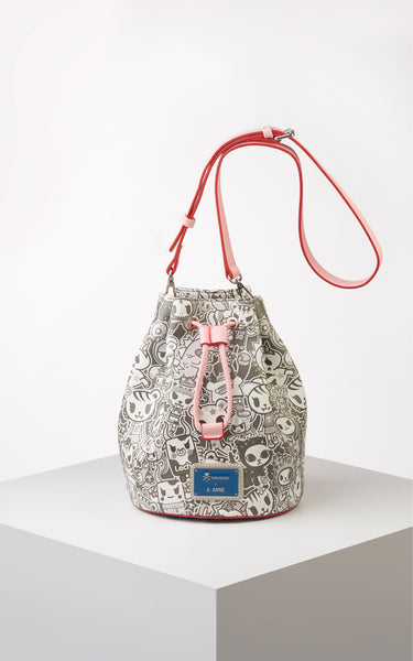 TDxAN Monochrome No. 1 Bucket Bag (Pink) - A.Anne, Tokidoki, Ashlyn Anne, Fashion, Handbags, School, Bag, Accessories