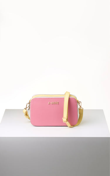 Rouge Pink & Polka Dot Colourblock Crossbody - A.Anne, Tokidoki, Ashlyn Anne, Fashion, Handbags, School, Bag, Accessories