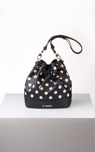 Off-White & Black Polka Dot Bucket Bag - A.Anne, Tokidoki, Ashlyn Anne, Fashion, Handbags, School, Bag, Accessories
