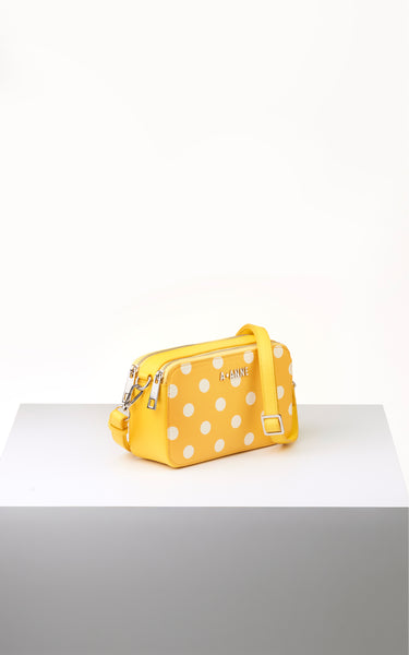 Off-White & Yellow Polka Dot Crossbody - A.Anne, Tokidoki, Ashlyn Anne, Fashion, Handbags, School, Bag, Accessories