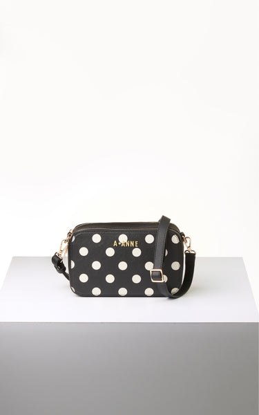 Off-White & Black Polka Dot Crossbody - A.Anne, Tokidoki, Ashlyn Anne, Fashion, Handbags, School, Bag, Accessories