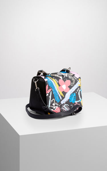 Graffiti Bloom Structured Handbag