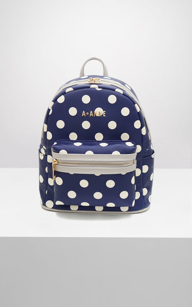 Off-White & Navy Polka Dot Backpack