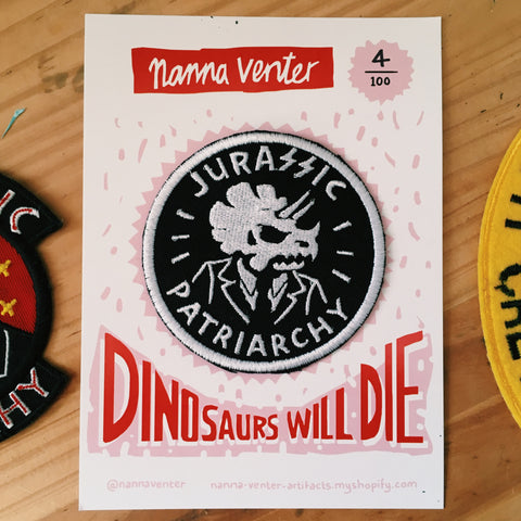 Jurassic Patriarchy Patches (Black and White 8cm)