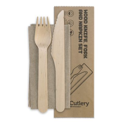 BioPak: 16cm Knife, Fork & Napkin Set - Wooden - FSC 100% - 400/Carton