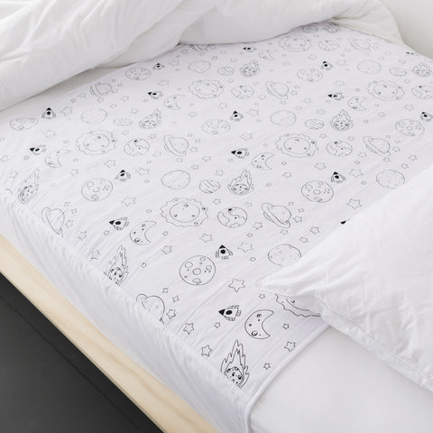 Brolly Sheets Waterproof Bed Pad with Wings, Single, Printed